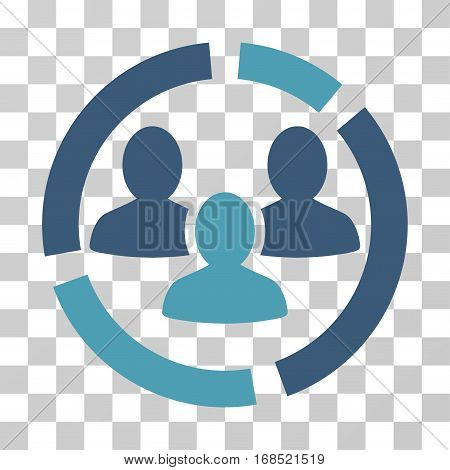 Demography Diagram icon. Vector illustration style is flat iconic bicolor symbol, cyan and blue colors, transparent background. Designed for web and software interfaces.