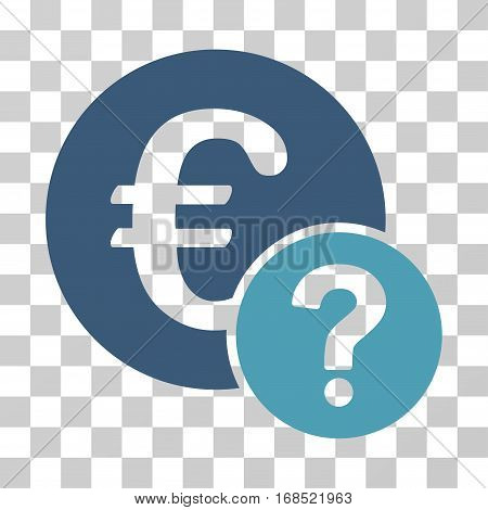 Euro Status icon. Vector illustration style is flat iconic bicolor symbol, cyan and blue colors, transparent background. Designed for web and software interfaces.