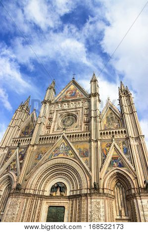 The beautiful Cathedral Duomo of Orvieto. Umbria, Italy