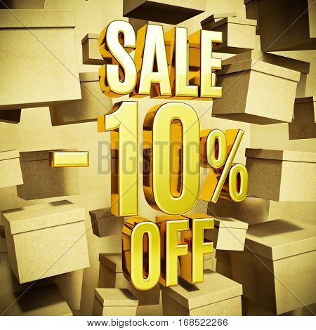 Gold 10 Percent Off Discount 3d Sign with Packaging Boxes Sale Banner Template, Special Offer 10% Off Discount Tag, Golden Sale Sticker, Gold Sale Symbol, Gold Sticker, Banner, Advertising, Sale Badge