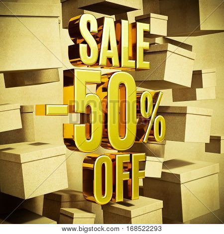 Gold 50 Percent Off Discount 3d Sign with Packaging Boxes Sale Banner Template, Special Offer 50% Off Discount Tag, Golden Sale Sticker, Gold Sale Symbol, Gold Sticker, Banner, Advertising, Sale Badge