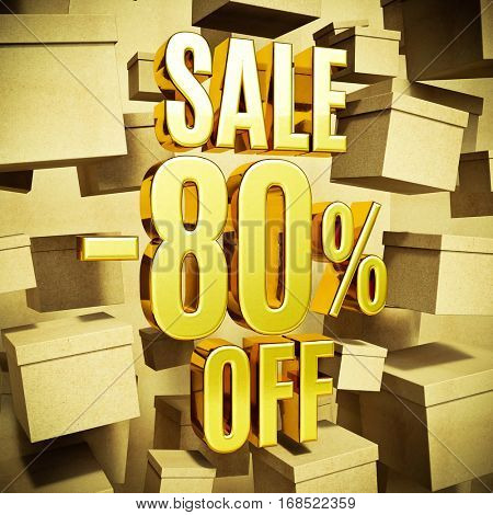 Gold 80 Percent Off Discount 3d Sign with Packaging Boxes Sale Banner Template, Special Offer 80% Off Discount Tag, Golden Sale Sticker, Gold Sale Symbol, Gold Sticker, Banner, Advertising, Sale Badge