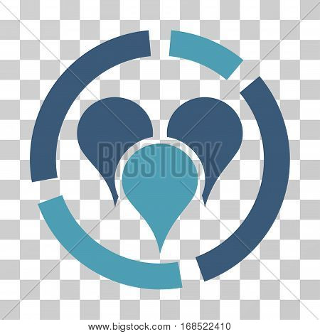 Geo Targeting Diagram icon. Vector illustration style is flat iconic bicolor symbol, cyan and blue colors, transparent background. Designed for web and software interfaces.