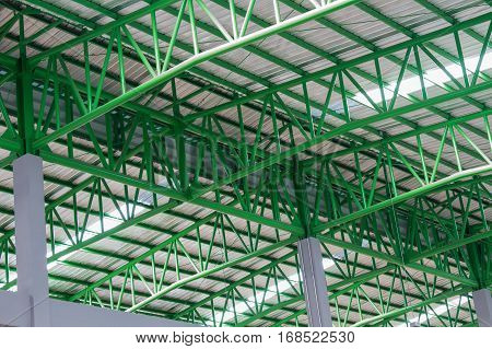 The green metal roof Structure roof Structure.