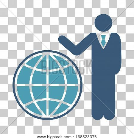 Planetary Manager icon. Vector illustration style is flat iconic bicolor symbol, cyan and blue colors, transparent background. Designed for web and software interfaces.