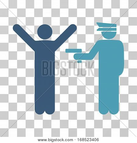 Police Arrest icon. Vector illustration style is flat iconic bicolor symbol, cyan and blue colors, transparent background. Designed for web and software interfaces.