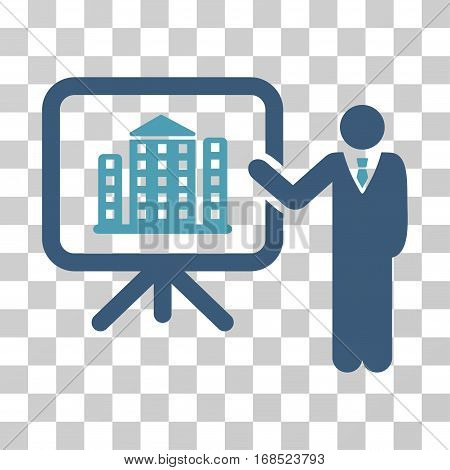 Realty Presention icon. Vector illustration style is flat iconic bicolor symbol, cyan and blue colors, transparent background. Designed for web and software interfaces.