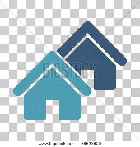 Realty icon. Vector illustration style is flat iconic bicolor symbol, cyan and blue colors, transparent background. Designed for web and software interfaces.