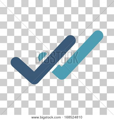 Validation icon. Vector illustration style is flat iconic bicolor symbol, cyan and blue colors, transparent background. Designed for web and software interfaces.