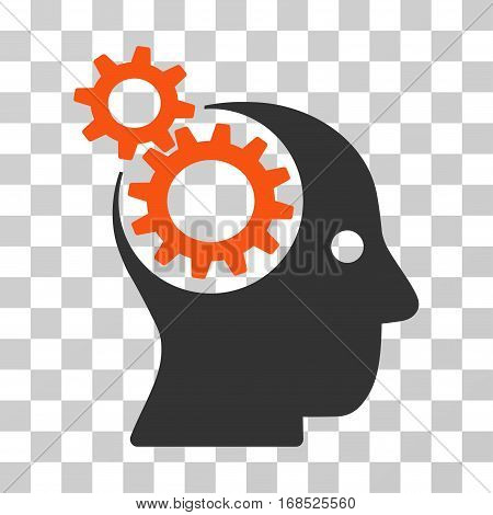 Intellect Gears icon. Vector illustration style is flat iconic bicolor symbol, orange and gray colors, transparent background. Designed for web and software interfaces.