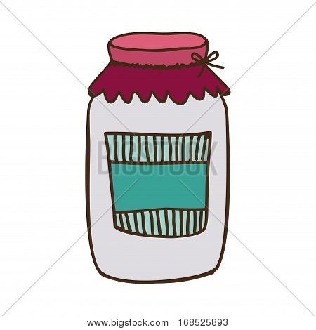 colorful glass jam with label and lid . Vector illustration