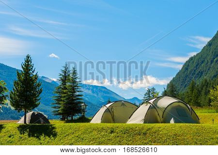Tourist tent in the camp