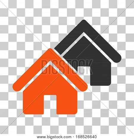 Realty icon. Vector illustration style is flat iconic bicolor symbol, orange and gray colors, transparent background. Designed for web and software interfaces.
