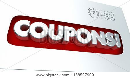 Coupons Mailer Envelope Save Money 3d Illustration