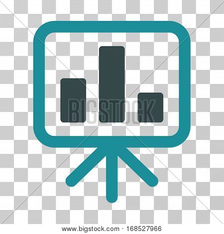 Bar Chart Display icon. Vector illustration style is flat iconic bicolor symbol, soft blue colors, transparent background. Designed for web and software interfaces.