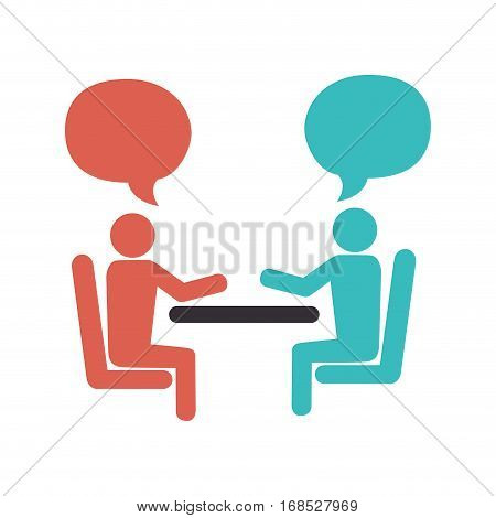 people talking in table icon vector illustration design
