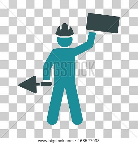 Builder With Brick icon. Vector illustration style is flat iconic bicolor symbol, soft blue colors, transparent background. Designed for web and software interfaces.