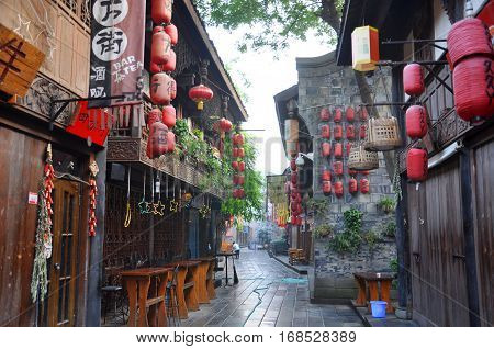 CHENGDU, CHINA - JUN, 22, 2012: Ancient Jinli Walking Street in Wuhou Ci, City of Chengdu, Sichuan Province, China.