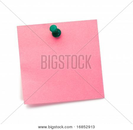 Pink Post it Memo With Drawing Pin