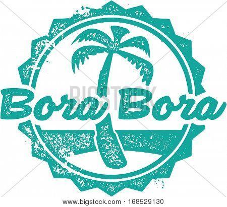 Bora Bora Vintage Tourism Stamp