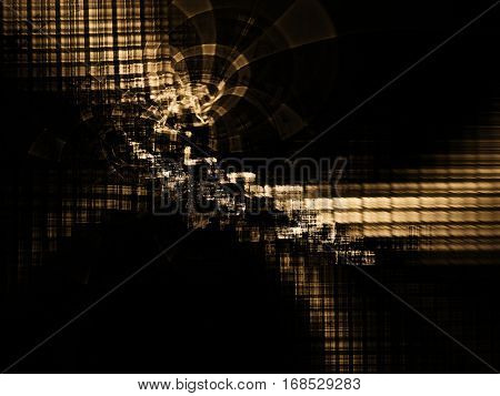 Abstract background element. Chaotic distortion of regular grid pattern. Technology glitch concept.