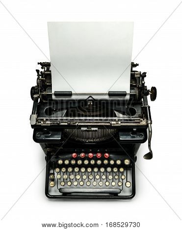 Typewriter with sheet of paper isolated image with copy space for your text.