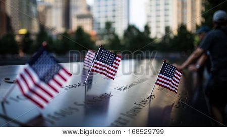 United States Flag In The 911 Memorial