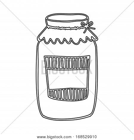 silhouette glass jam with label and lid vector illustration