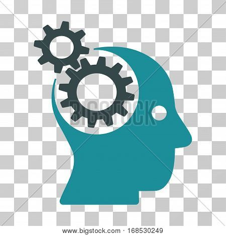 Intellect Gears icon. Vector illustration style is flat iconic bicolor symbol, soft blue colors, transparent background. Designed for web and software interfaces.