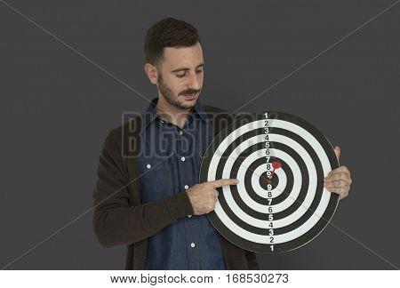 Caucasian Man Bullseye Dart Board Smiling