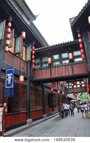 CHENGDU, CHINA - JUN, 20, 2012: Ancient Jinli Walking Street in Wuhou Ci, City of Chengdu, Sichuan Province, China.