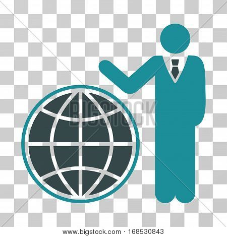 Planetary Manager icon. Vector illustration style is flat iconic bicolor symbol, soft blue colors, transparent background. Designed for web and software interfaces.