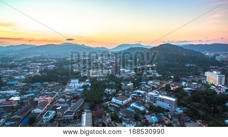 aerial photography Phuket city. Mongkolnimit temple is in the middle Phuket town locate is on Debuk road next to Talang road.this temple is very important for people in town.