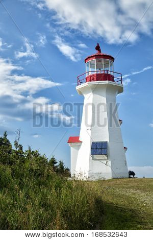 The red and white Cap Gaspe lighthouse in Gaspesie, Quebec, Canada during summer season