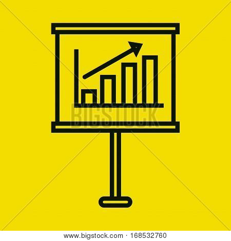 paperboard with statistics graph vector illustration design