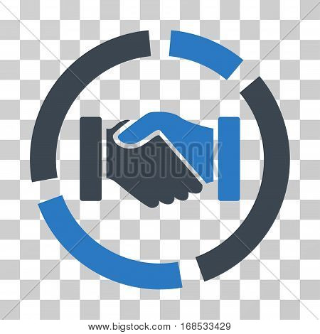 Handshake Diagram icon. Vector illustration style is flat iconic bicolor symbol, smooth blue colors, transparent background. Designed for web and software interfaces.