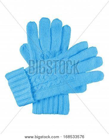 Woolen Gloves Isolated - Light Blue