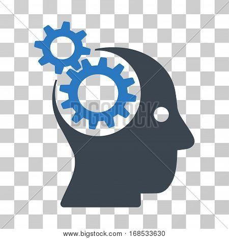 Intellect Gears icon. Vector illustration style is flat iconic bicolor symbol, smooth blue colors, transparent background. Designed for web and software interfaces.