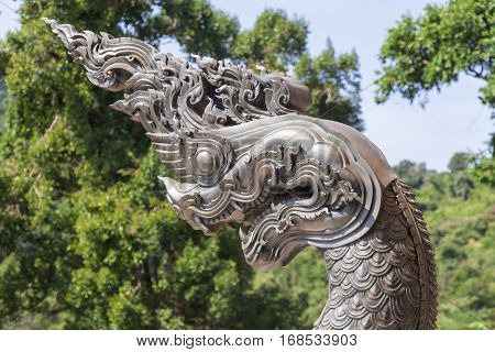 The Naga sculpture in the temple of Thailand