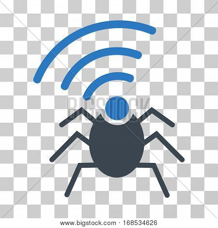 Radio Spy Bug icon. Vector illustration style is flat iconic bicolor symbol, smooth blue colors, transparent background. Designed for web and software interfaces.