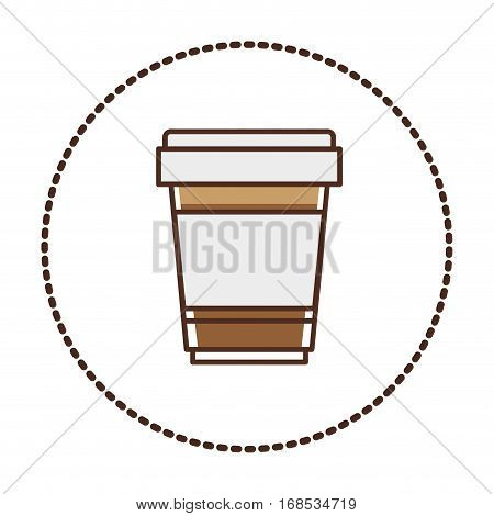 sticker circular shape glass disposable for hot drinks with lid vector illustration vector illustration