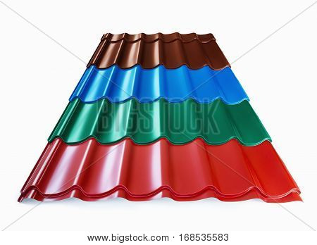 Colorful samples of corrugated roofing on a white background