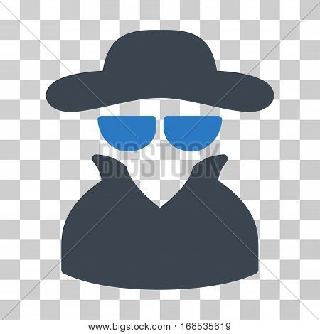 Spy icon. Vector illustration style is flat iconic bicolor symbol, smooth blue colors, transparent background. Designed for web and software interfaces.