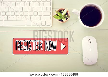 Register Now Concept With Workstation