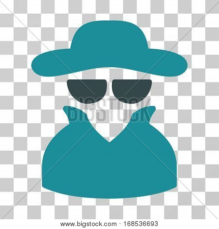 Spy icon. Vector illustration style is flat iconic bicolor symbol, soft blue colors, transparent background. Designed for web and software interfaces.