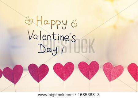 Happy Valentines Day Message With Small Red Hearts