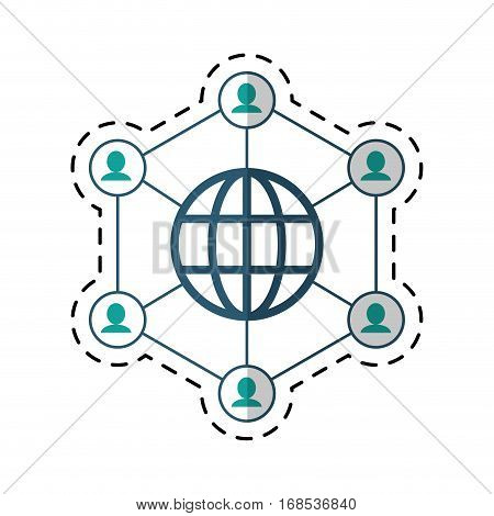 globe connected community communication cut line vector illustration eps 10