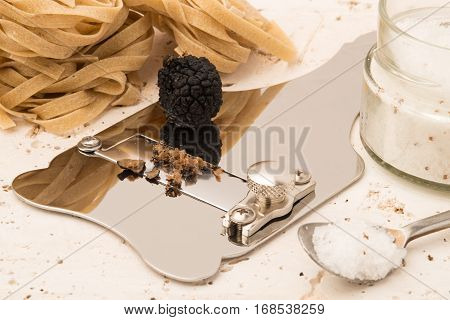 Steel Truffle Slicer And Black Truffle
