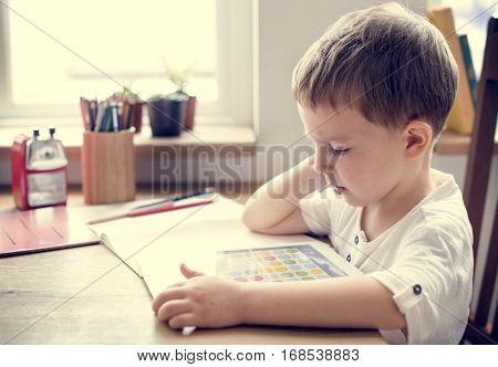 Son Boy Kid Playing Techie Digital Device