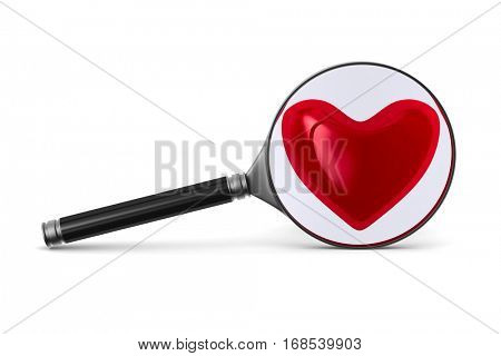 Magnifier and heart on white background. Isolated 3D image.
